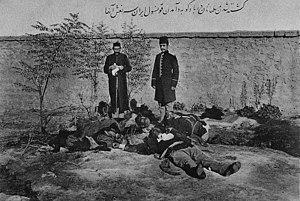 March Days - Postcard from Iran. Iranian consul M.S. Vezare-Maragai near muslim (Azerbaijani) victims in Baku after March days