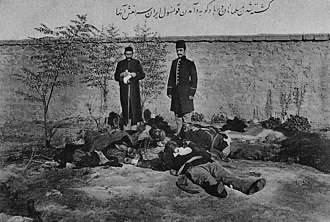 March Days - Postcard from Iran. Iranian consul M.S. Vezare-Maragai near muslim (Azerbaijani) victims in Baku after March days