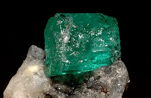 Alkaline earth metal - Emerald, a variety of beryl, the mineral that beryllium was first known to be in.