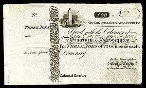 Banknotes of Demerary and Essequibo - Image: BR GUI B3 Demerary & Essequebo Three Joes (22 Guilders each)(1830s)