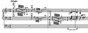 Toccata and Fugue in D minor, BWV 565 - Beginning, D minor notation, with the pedal part on a separate stave (also, arpeggio in second half of second measure converted to modern notation)