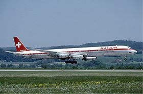 Balair Douglas DC-8-63 at Zurich Airport in May 1985.jpg