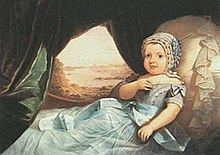 A painted portrait depicting an infant dressed in a blue cap, blue gown and propped up against a lace-trimmed pillow with a forested river scene visible through a curtained window in the background