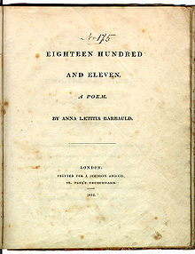 "Le texte dit ""Eighteen Hundred and Eleven, A Poem. By Anna Laetitia Barbauld. London: Printed for J. Johnson and Co., St. Paul's Churchyard. 1812."""