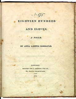 Eighteen Hundred and Eleven creative work by Anna Laetitia Barbauld (London : Printed for J. Johnson and Co., St. Pauls Churchyard, 1812.)