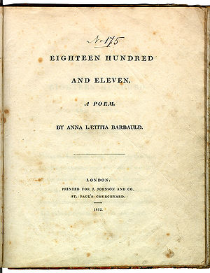 "Page reads ""Eighteen Hundred and Eleven, A Poem. By Anna Laetitia Barbauld. London: Printed for J. Johnson and Co., St. Paul's Churchyard. 1812."""
