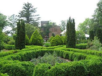 Adairsville, Georgia - Ruins of the original Barnsley Gardens home and surrounding garden foliage