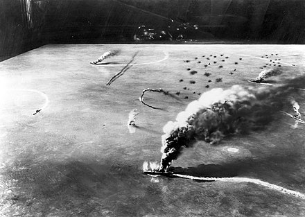 A model representing the attack by dive bombers from USS Yorktown and USS Enterprise on the Japanese aircraft carriers Soryu, Akagi and Kaga in the morning of June 4, 1942, during the Battle of Midway Battle of Midway.jpg