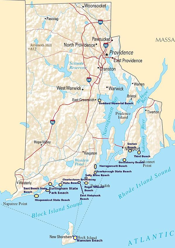 Map Of Rhode Island Coast List of beaches in New England   Wikiwand