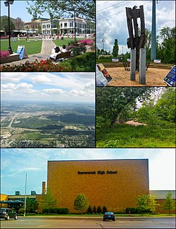 From top left, left to right: The Greene Town Center, 9/11 Memorial, Aerial view of northern Beavercreek, Little Beaver Creek, Beavercreek High School