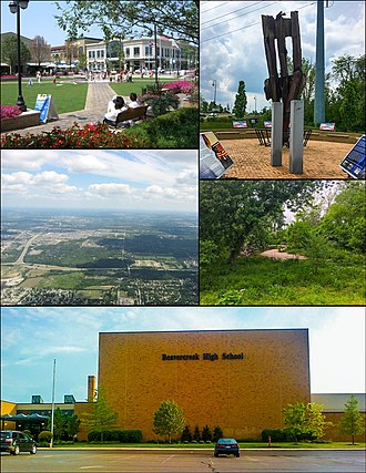 Beavercreek, Ohio - From top left, left to right: The Greene Town Center, 9/11 Memorial, Aerial view of northern Beavercreek, Little Beaver Creek, Beavercreek High School