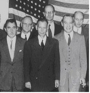 William Harding Jackson - CIA Change of Command - 7 October 1950 - (Front Row L to R) Incoming Deputy Director William Harding Jackson, incoming Director Gen. Walter Bedell Smith, outgoing Director Adm. Roscoe Hillenkoetter