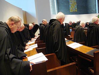 Liturgy of the Hours - Benedictine monks singing vespers, which is part of the Liturgy of the Hours.