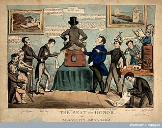 Benjamin Harrison (hospital administrator) - Caricature depicting Benjamin Harrison as a king on a throne, with his subjects prostrating themselves.