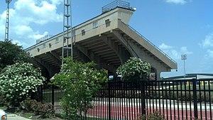 Bernie Moore Track Stadium - Image: Bernie Moore Track Stadium Home Grandstand Exterior View