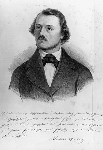 Berthold Auerbach - Lithograph of Auerbach with a sample of his handwriting, c.1850