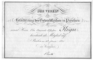 """Christian Peter Wilhelm Beuth - Johann Friedrich Krigar's membership card in the Prussian Manufacturing Association, signed """"Beuth"""""""