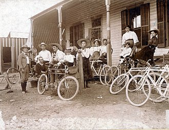 Fenton, Missouri - Bicycle party resting in Fenton, Missouri, September 12, 1897