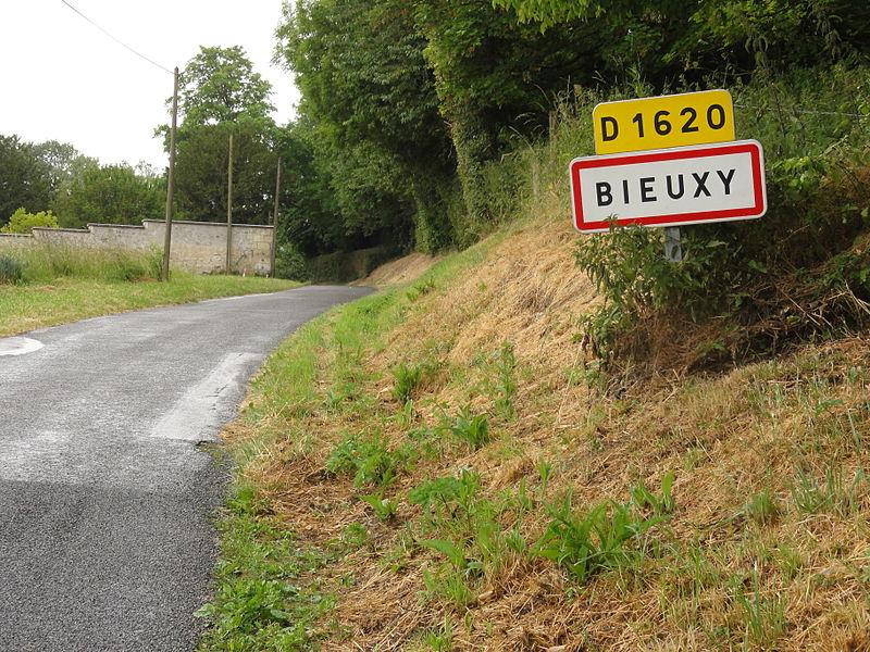 Bieuxy (Aisne) city limit sign