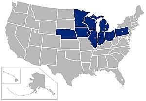 Superconference - Image: Big Ten USA Map 2011
