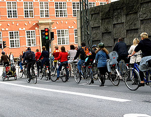 Bicycle rush hour in Copenhagen, where 37% of ...
