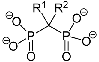 Bisphosphonate - The general chemical structure of bisphosphonate The R-groups determine the chemical properties of the drug, and distinguishes individual types of bisphosphonates. This chemical structure affords a high affinity for calcium hydroxyapatite, allowing for rapid and specific skeletal targeting.