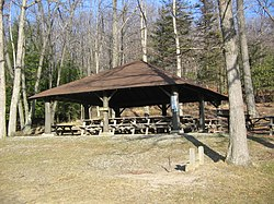 One of the pavilions built by the CCC at  Black Moshannon State Park in Rush Twp.