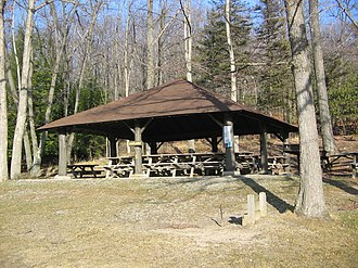 Black Moshannon State Park Historic Districts - Pavilion 5 is a contributing property in the Beach and Day Use Historic District.