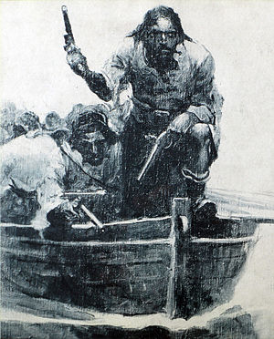 Ralph Delahaye Paine - Blackbeard Approaching, Blackbeard and his crew approach in their longboats. Art commissioned for Paine's serialized work on Blackbeard