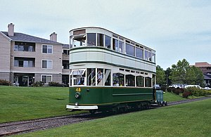 Oregon Electric Railway Museum - Double-decker 48 was used on the Willamette Shore Trolley line, in Portland (as seen here), for several years, but was moved to the museum in 2006.