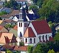 Blick vom Rheingrafenstein zur Kath. Pfarrkirche St. Johannes der Täufer im Ortsteil Ebernburg - panoramio.jpg