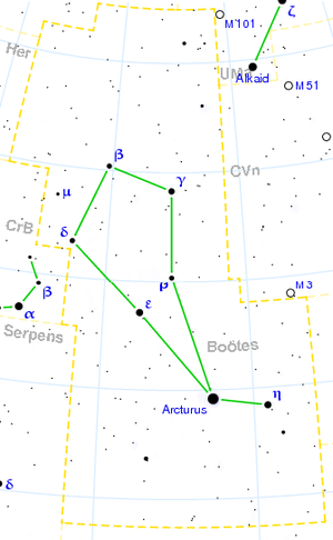 Gamma Boötis - Image: Boötes constellation map