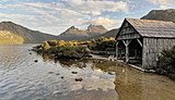 Boat shed and Cradle Mountain at Dove Lake, Tas.jpg