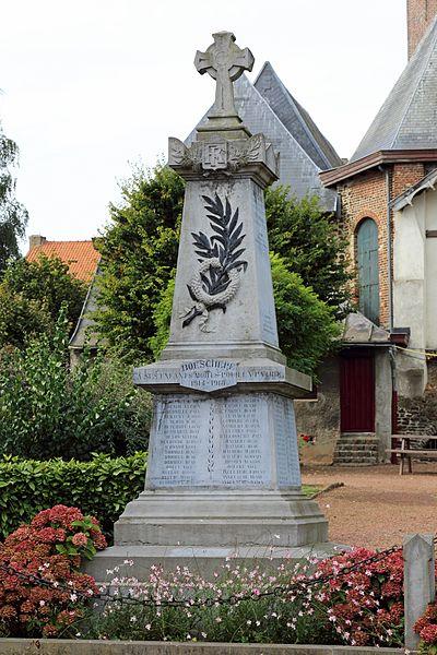 Boeschepe (Département du Nord, France): war memorial (WW 1 & 2)