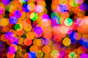 Defocus aberration - A photograph of Christmas lights with significant defocus aberration.