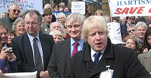 Johnson on a demonstration against hospital closures with Liberal Democrat M.P. John Hemming (left) on March 28, 2006