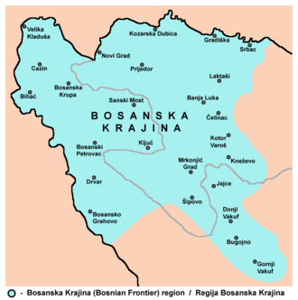 Bosanska Krajina - Map of the region with towns.