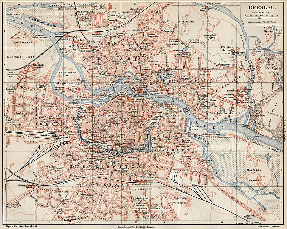 Carte de Wroclaw : Plan détaillé des lieux intéressants.