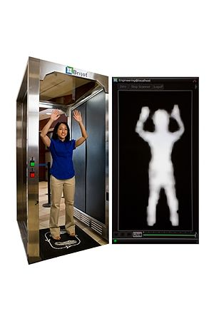 Full body scanner - Passive millimeter wave image and subject being screened