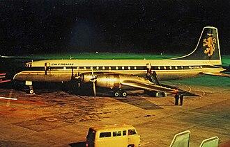 Caledonian Airways - Caledonian Bristol 175 Britannia 314 G-ATMA in the later scheme at Manchester in August 1966