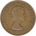 A 1963 penny, showing Elizabeth II