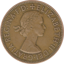 A penny, showing Elizabeth II as a young woman