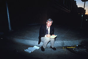 Tom Brokaw - Brokaw preparing for a live broadcast in the aftermath of the 1989 Loma Prieta earthquake.