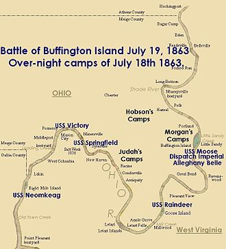 Battle of Buffington Island - Image: Buffington battle map