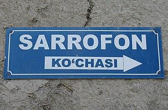 Street name sign - Image: Bukhara Sarrofon Kochasi