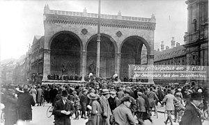 Beer Hall Putsch - Odeonsplatz in Munich on 9 November.