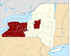 "Burned-over district - Map showing the counties of New York considered part of the ""burned-over district"""