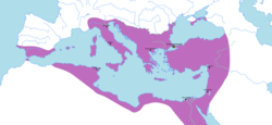 The Byzantine Empire at its greatest extent since the fall of the Western Roman Empire, under Justinian I in 555 AD.