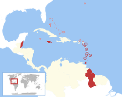 A map of CARIFTA Member States (red) and other Commonwealth Caribbean territories (pink) that were eligible for simplified accession to CARIFTA. CARIFTA comprised all of the Commonwealth Caribbean except the Bahamas, Turks and Caicos Islands, Cayman Islands, Bermuda, British Virgin Islands and Anguilla (de facto)