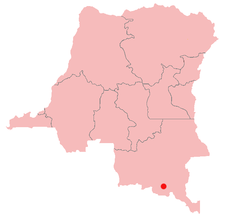 Location of Shinkolobwe in the Democratic Republic of the Congo.